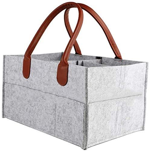 Pannolino Caddy Organizer in feltro portatile, feltro grigio Baby Pannolino Caddy, pieghevole organizzatore per pannolini portatile, borsa da viaggio per auto, borsa salviette per neonati (A)