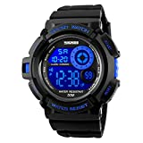 SKMEI 7 Colors Changeable Digital Watch Men Waterproof Soft PU Band LED Backlight Outdoor Sports Wristwatch (Blue)