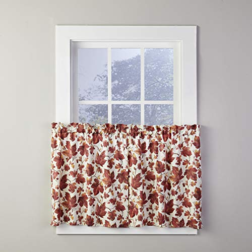 SKL Home by Saturday Knight Ltd. Falling Leaves Curtain Tier Pair, Spice