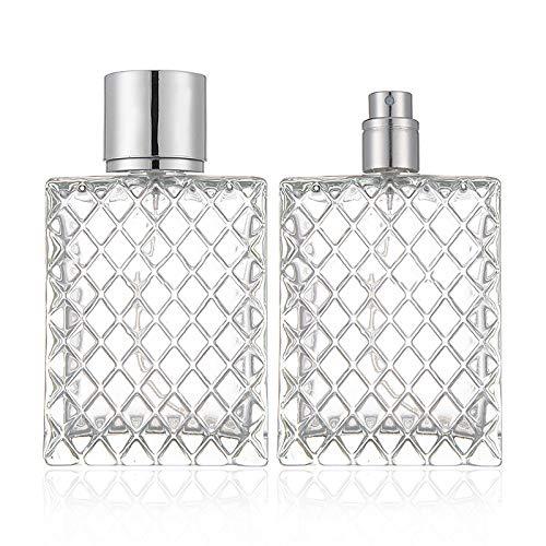 Botella de perfume de cristal transparente con bomba de pulverización y tapa, cuadradas y vacías, botella de perfume para 100 ml
