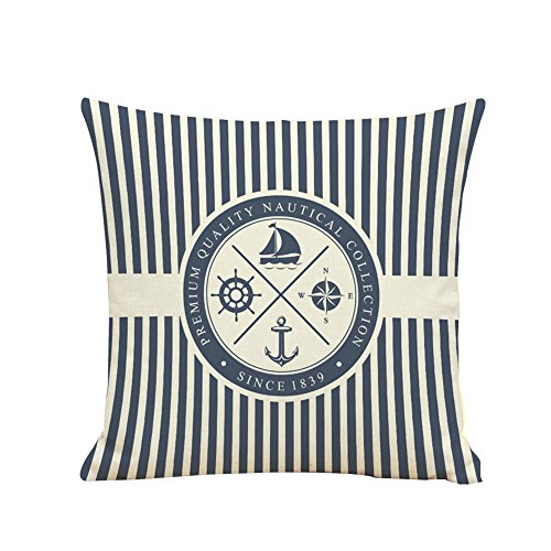 BIGBOBA. Lino sofá cojín patrón de Funda de Barco Pirata Suave Decorativo Sofá Almohada Azul patrón de Color Blanco de Onda Wave Funda de cojín 45 * 45 cm (B)