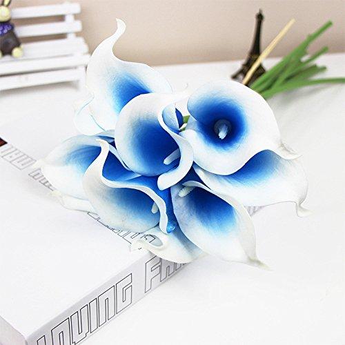 RAILONCH 20 Stücke Calla Kunstblume Deko Künstliche Blumen Kunstpflanze Blumenstrauß für Hochzeit Sträuße Home Hotel Gartendekoration (Blau, Weiß)