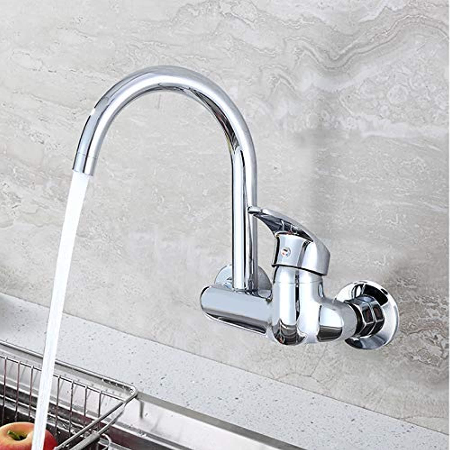 Oudan Kitchen Sink, Laundry Pool, Wall-Mounted Double-Hole Hot and Cold Water Faucet, Hot and Cold Valve, Copper Mixing Valve, A (color   Section B, Size   -)