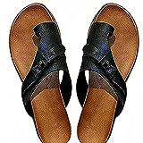 rewikie Sandalias ortopédicas para mujer juanetes correctivos, zapatos planos separados con soporte de arco, sandalias de piel sintética para mujer, almohadillas para juanetes, color negro_40