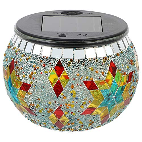 Uonlytech Mosaic Solar Light Outdoor Color Changing Crystal Glass Globe Ball Light LED Table Lamp Waterproof Night Light for for Garden Patio Party Yard Decorations