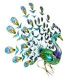 Christmas Concepts® 81cm Colorido Metal Standing Peacock con Plumas de la Cola Jewel Abierto - Interior / decoración de jardín al Aire Libre