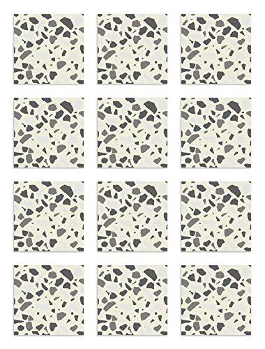 Panorama Azulejos Adhesivos Cocina Baño Pack de 72 Baldosas de 10x10cm Piedras Color Gris - Vinilos Cocina Azulejos - Revestimiento de Paredes - Cenefas Azulejos Adhesivas