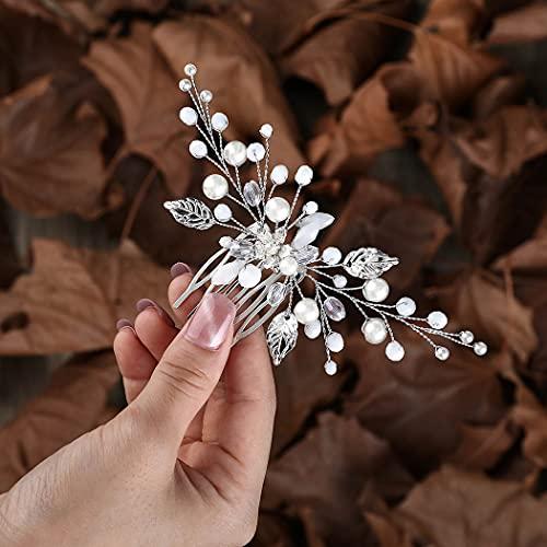 Zoestar fleur mariage peignes à cheveux perle d'argent casque de mariée perlé feuille accessoires de cheveux pour femmes et filles