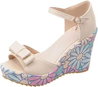 YOcheerful Women Shoes Waterproof Platform Shoes Bow Wedge Matching Buckle Summer Casual Sandals