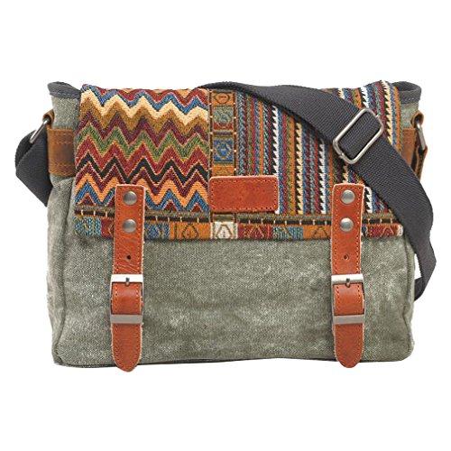 MissFox Uomini Borsa A Tracolla Canvas Bag Multifunzione Messenger Bag Viaggio Verde