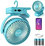 Clip On Fan, 65H 12000mAh Camping Fan with Light, 360°Head Rotation Stroller Fan Clip On with Power Bank, Super Strong Airflow Tent Fan with Hanging Hook, Battery Operated Fan for Outdoor Home