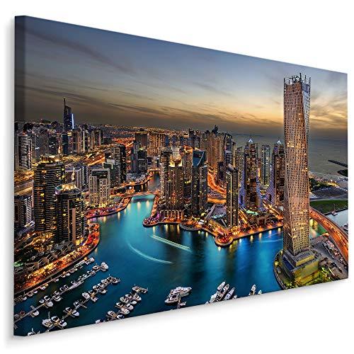Muralo Bilder Stadt 120 x 80cm Bild auf Leinwand Wandbild Kunstdruck Dubai Hochhäuser Leinwandbilder Schlafzimmer Wohnzimmer Wanddekoration Design Wand Bild Panorama Architektur