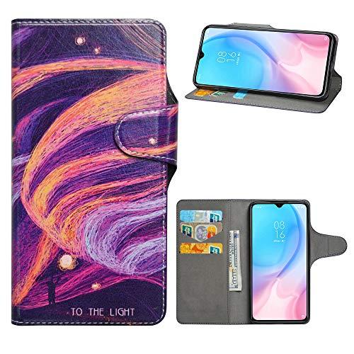HHDY Xiaomi Mi 9 Lite Leder Hülle,Painted Muster Wallet Handyhülle mit Kartenfächer/Standfunktion Hülle Cover für Xiaomi Mi 9 Lite/Mi CC9 / Mi A3 Lite,Brilliant Purple