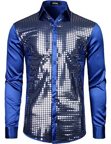 JOGAL Herren Pailletten Hemds 70er Langarm Disco Party Kostüm Large Königsblau