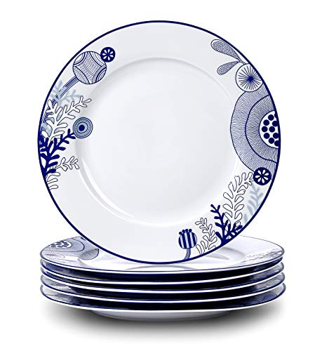 Dinner Plates Set, Doublewhale 10.5 Inch Porcelain Plates, Set of 6 Kitchen Dishes, Blue