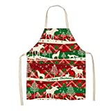 Cajymjxna Delantal sin Mangas Rojo con decoración navideña para Mujer, Delantal de Cocina de Lino de algodón para cocinar en casa para hornear-Color08_PC 1