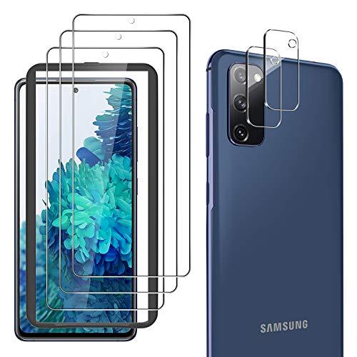 yotame 5 Stück Panzerglas Kompatibel mit Samsung Galaxy S20 FE, 3 Stück Schutzfolie und 2 Kamera Panzerglasfolie, Mit Positionierhilfe, 9H Härte Kratzfest Displayschutzfolie, Blasenfrei, HD Klar