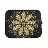 Design Custom Mandala of Gold Peacock Feathers Decorated with T Sleeve Soft Laptop Case Bag Pouch Skin for MacBook Air 11'(2 Sides)