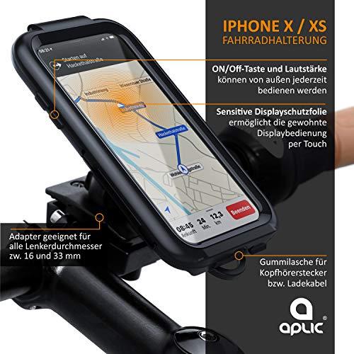 CSL - Fahrradhalterung Kompatibel mit iPhone X und XS - Fahrrad Case Schutzhülle Spritzwasserdicht - Handy Smartphone Halterung - Touchscreen Unterstützung - geeignet Bike Navigation