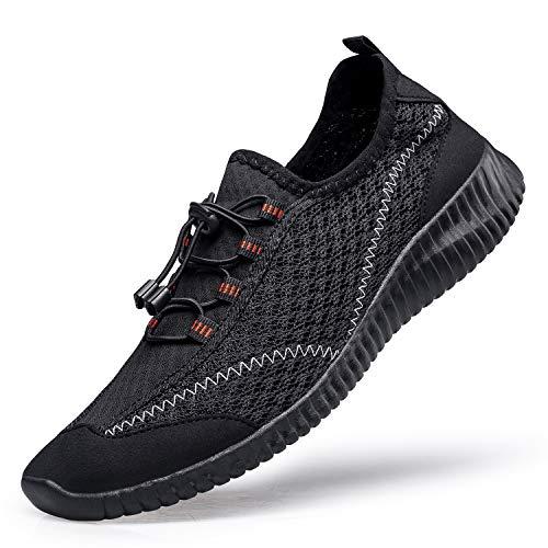 [MOXOCO] ジム シューズ ランニングシューズ メンズ ジョギングシューズ レディース 運動靴 ウォーキングシューズ スポーツ軽量 クッション性 幅広 通学 通勤 日常着用 ブラック24.5cm