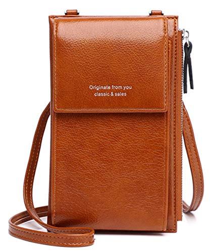 VEVESMUNDO Damen Klein Handytasche Geldbörse Portmonee Geldbeutel zum Umhängen Crossbody Brieftasche Handtasche Handy Karte Schultertasche Umhängetasche (Typ B - Braun)