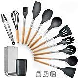 Juego de utensilios de cocina Utensilios de cocina de silicona Juego de cocinar Juegos de utensilios con soporte - 11 PCS mango de madera utensilios de cocina antiadherente Utensilios de lavar en lava