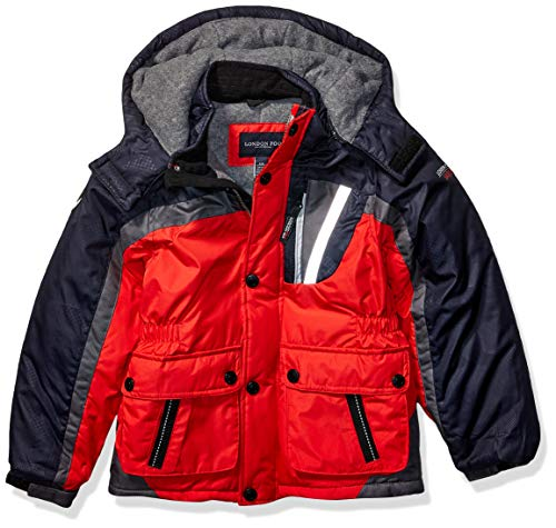 LONDON FOG Boys' Toddler Warm Winter Coat Parka with Cozy Trimmed Hood, Red Colorblock, 2T