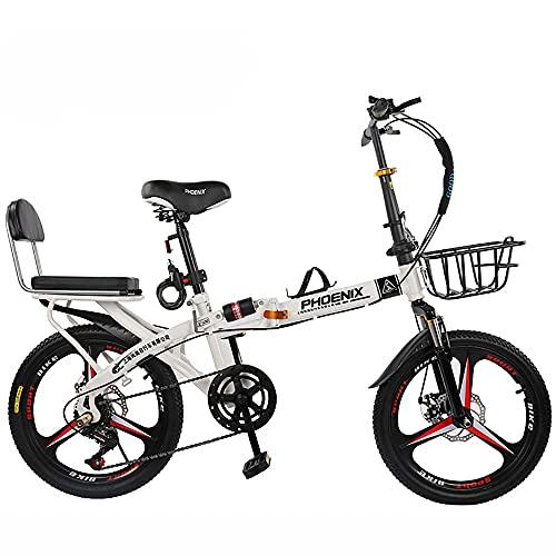DODOBD 20 Zoll Faltrad-Klapprad Licht Aluminium, City Retro Bike mit Rücklicht und Autokorb, Faltfahrrad Leichte Arbeit Doppelscheibenbremsen, Alu-Rahmen