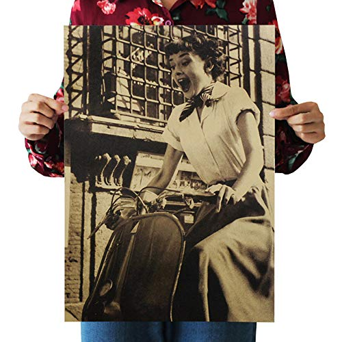 Wall Art Decor Poster Artworks, Hepburn Nostálgico Vintage Kraft Paper Poster Audrey Hepburn Bar Art Movie Actriz Star Home Office Decor