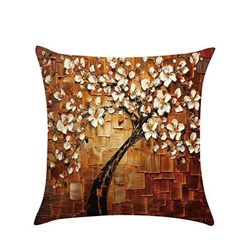 Gaoqi Funda de Almohada, Funda de Almohada de Lino de algodón de Flor Vintage 3D, la Funda de cojín de Cintura empaqueta el Coche casero