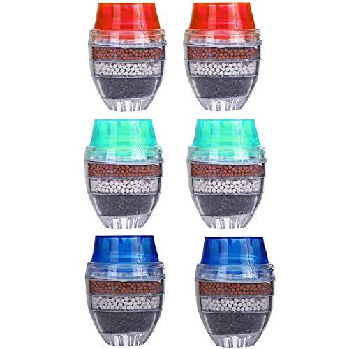 Grifo de agua de carbón activado - YUESEN 6PCS mini grifo purificador Filtro de Agua del Grifo Cartucho de filtro purificador de limpieza para el hogar o la cocina filtro