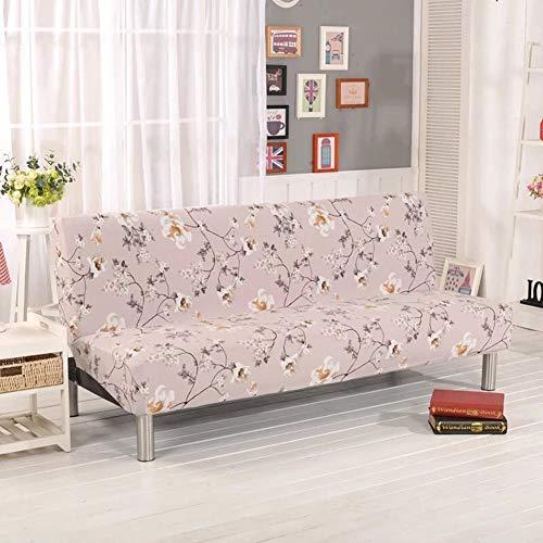 Willlly Sofa, stretch, elastische stof, stoel, moderne liefdesschommel, sofa, bank, armloos, uittrekbare sofacover, beschermhoes, Pet Dog bank, displaybeschermfolie, bloemenpatroon, bedsprei, beige 160 190