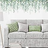 decalmile Pegatinas de Pared Eucalipto Hojas Verde Vinilos Decorativos Plantas de Vid Colgantes Adhesivos Pared Salón Dormitorio Oficina (W: 190 cm)