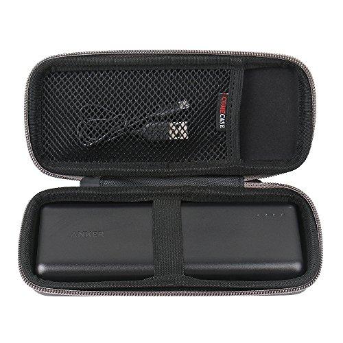 Custodia Rigida per Anker 20100mAh PowerCore 20100 Impermeabile Portatile Borsa da Viaggio di Comecase (Nero).-Adatta per spina e cavo USB
