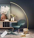 LED Arc Stehleuchte Dimmbar Bogenleuchte, 25W Moderner Minimalistische Golden Stehende Klavierlampe Fernbedienung Stehlampe, Bogenlampe Leselampe für Sofa/Office, Wohnzimmer, Schlafzimmer, H175CM