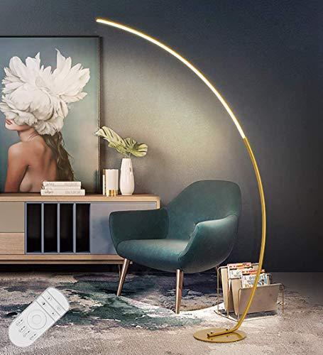 LED Bogenleuchte Dimmbar Modern Stehleuchte in Alu aus Metall, 25W Halbrunde Arc Standleuchte mit Fernbedienung, Leselampe für Schlafzimmer & Wohnzimmer, Bogenlampe, Floor Lamp, Stehlampe, Gold H175cm