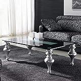 Zadise mi mueble online Mesa de Centro | Estilo Moderno | Medidas 120 X 70 X 40 cm. | RETTO | Tapa de Cristal 10 mm Grosor | Patas torneadas Fija | Cristal Lacado con Detalle |