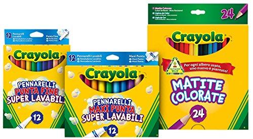 Crayola - OFFERTA SPECIALE - Kit Back To School (include: 1 confezione di pennarelli a punta fine, 1 set di pennarelli a punta maxi, 1 set di 24 matite colorate)
