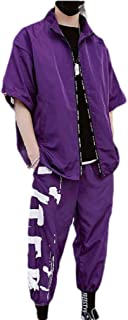 Mogogo Mens Loose-Fit Fashion Casual Loose Stitch 2 Pieces Sweatsuit Set