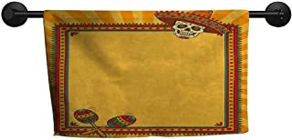 xixiBO Bath Towels for Sale W 28 x L 12(inch) Anti-Fade Towel,Fiesta,Frame Pattern with Skull Sombrero and Maracas Mexican Elements Geometric,Marigold Red Green