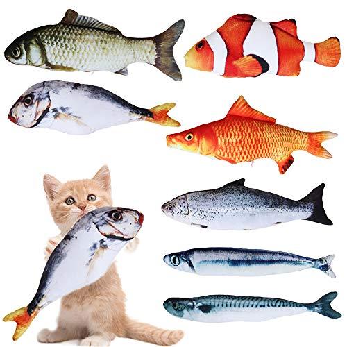 Anyasen Spielzeug mit Katzenminze 7 Stück Fisch Spielzeug Katzen Fisch Katze Katzenminz Kissen Kauen Spielzeug Katze Interaktive Spielzeug Simulation Fisch Spielzeug Plüsch Fisch für Katze Kätzchen