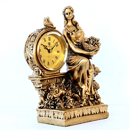 JPVGIA Ornamentos del Reloj de Las Mujeres Europeas, Elegante salón Decorado Reloj de Cuarzo Creativo Antiguo (27 * 22.8 * 12 cm)