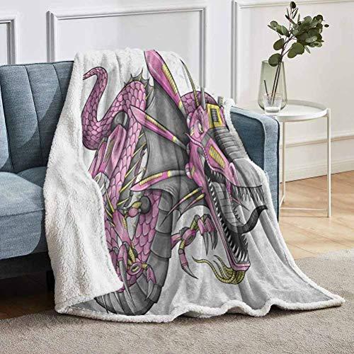 YUAZHOQI - Manta decorativa de dragón, diseño de dragón, diseño de dragón de ciborg, diseño moderno de caballero, escalera para sala de estar, 127 x 152 cm, color amarillo y gris fucsia