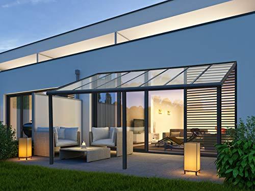 VITRO Terrassenüberdachung Echtglas Aluminium | 12 mm VSG-Glas | Cartport Bausatz | Verbundssicherheitsglas | Glasüberdachung | Anthrazit (7m x 3,5m)