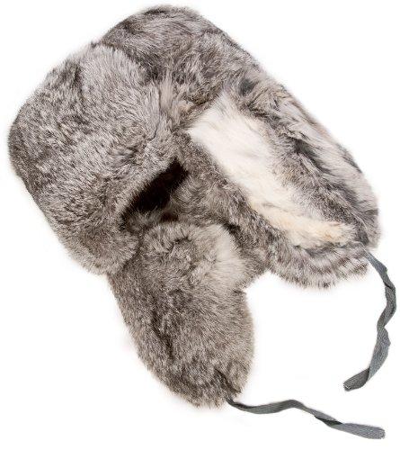 Rabbit fur ushanka winter hat Gray-58