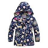 Girls Rain Jacket Kids Hooded Raincoat Windbreaker with Fleece Lining(2901,10)