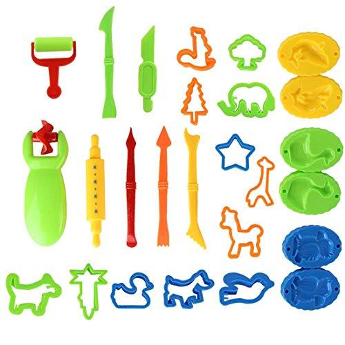 LISOPO Knetwerkzeug Teig Plastilin Werkzeuge, Knete zubehör Ausstechformen Küchenspielzeug, 26 Stück