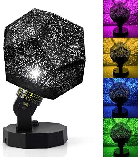 Sternenhimmel Nachtlicht Galaxy Projektor DIY Montage Planetarium Lampe für Schlafzimmer Zuhause (schwarz)