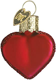 Old World Christmas Ornaments: Small Red Heart Glass Blown Ornaments for Christmas Tree