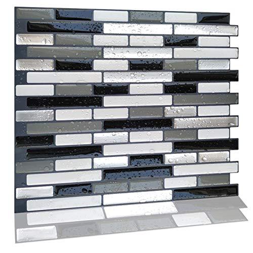 ZXF Pegatinas de baldosas, 10 Tabletas Decoración casera Moderna Mosaico backsplash de la Cocina Baño Foil Auto-Adhesivo de la Etiqueta engomada 3D del azulejo